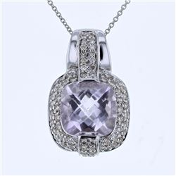 14KT White Gold 5.01ct Amethyst and Diamond Pendant with Chain