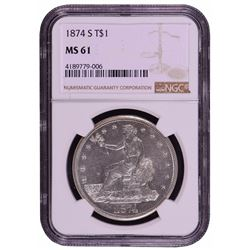 1874-S Trade Dollar Silver Coin NGC MS61