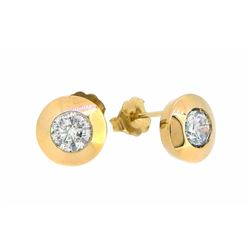 14KT Yellow Gold 1.28ctw Diamond Earrings
