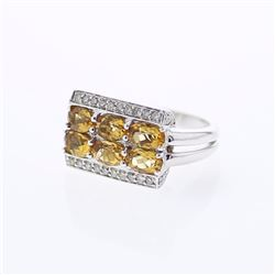 18KT White Gold 2.52ctw Citrine and Diamond Ring