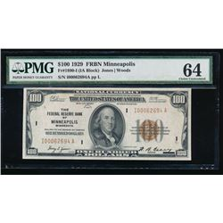 1929 $100 Minneapolis Federal Reserve Bank Note PMG 64