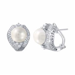14KT White Gold 17.96ctw Pearl and Diamond Earrings