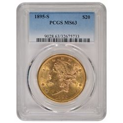 1895-S $20 Liberty Head Double Eagle Gold Coin NGC MS63