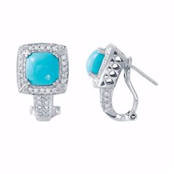 14KT White Gold 2.64ctw Turquois and Diamond Earrings