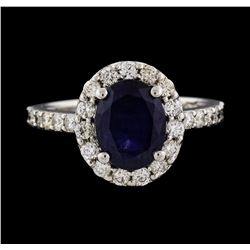 14KT White Gold 3.01ct Blue Sapphire and Diamond Ring