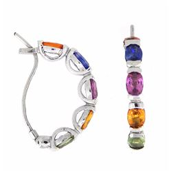 14KT White Gold 5.87ctw Multi Color Sapphire and Diamond Earrings