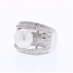 18KT White Gold 9.13ct Pearl and Diamond Ring