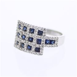 14KT White Gold 1.38ctw Blue Sapphire and Diamond Ring