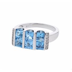 14KT White Gold 2.58ctw Blue Topaz and Diamond Ring