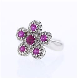 14KT White Gold 1.04ctw Ruby and Diamond Ring