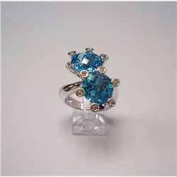 14KT White Gold 11.51ctw Blue Topaz and Diamond Ring