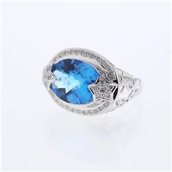 14KT White Gold 10.70ct Blue Topaz and Diamond Ring