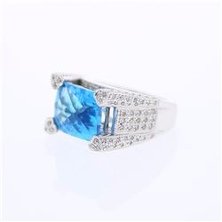 18KT White Gold 8.65ct Blue Topaz and Diamond Ring