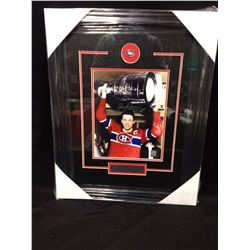 AUTOGRAPHED JEAN BELIVEAU FRAMED DISPLAY 14 X 18 W COA