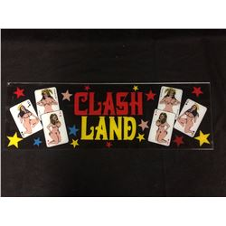 VINTAGE ARCADE BACK GLASS CLASH LAND