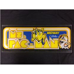 VINTAGE ARCADE BACK GLASS MS PAC MAN