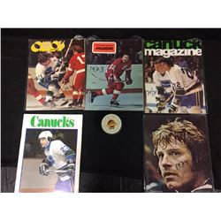 VINTAGE VANCOUVER CANUCKS MAGAZINES AND FACSIMILE SIGNED PUCK 1981