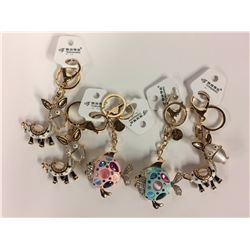 LOT OF SIX NEW JEWEL KEY CHAINS