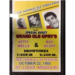 OCTOBER 22,1955 THE MISSOURI THEATER CONCERT POSTER (JOHNNY CASH, PERKINS & PRESLEY)