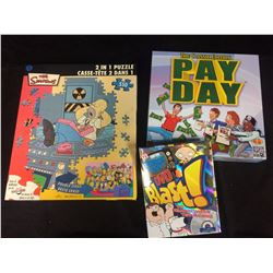 BOARD GAMES & PUZZLES LOT (SIMPSONS, FAMILY GUY, PAY DAY)