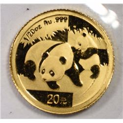 2008 1/20 OZ GOLD PANDA  GEM BU