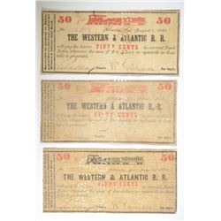 3- 50¢ NOTES FROM WESTERN & ATLANTIC RAILROAD