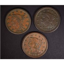 3 - 1846 LARGE CENTS; SMALL, MEDIUM & TALL