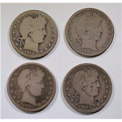 4-KEY DATE BARBER QUARTERS AS LISTED:
