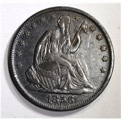 1856/56-O SEATED HALF DOLLAR, XF with marks