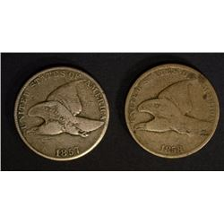 1857 FINE & 1858 FLYING EAGLE CENTS,