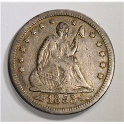 1853 ARROWS & RAYS SEATED QUARTER, VF+