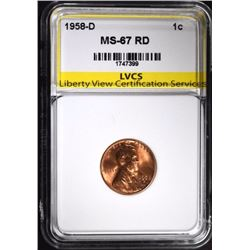 1958-D LINCOLN CENT LVCS SUPERB GEM BU RED