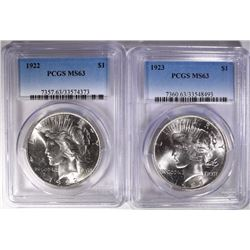 1922 & 1923 PEACE SILVER DOLLARS PCGS MS63