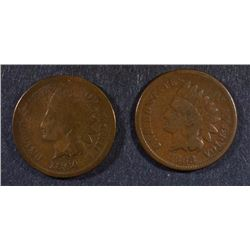 INDIAN CENTS; 1868 VG & 1864-L GOOD/VG