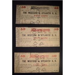 (3) 50¢ NOTES FROM WESTERN & ATLANTIC RAILROAD