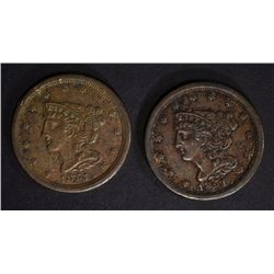 2 - 1851 HALF CENTS XF CORRODED