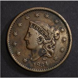 1834 LARGE CENT VF FEW SPOTS