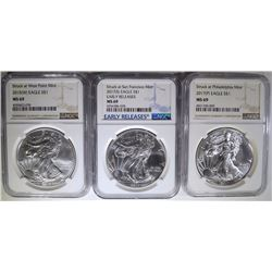 3 - NGC MS69 AMERICAN SILVER EAGLES;
