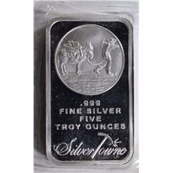 FIVE OUNCE .999 SILVER BAR SILVER TOWNE