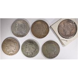 6 PEACE DOLLARS, DAMAGED, MIXED DATE AND MINT MARK