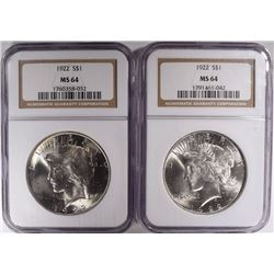 2- 1922 PEACE SILVER DOLLARS, NGC MS-64