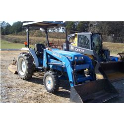 NEW HOLLAND 1720 TRACTOR W/ WOODS DUAL 155 LOADER W/ BUCKET, HOURS SHOWING: 2619