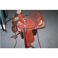 """16"""" SADDLE W/ MATCHING BRIDLE AND BREASTCOLLAR"""