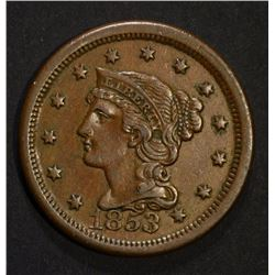 1853 LARGE CENT, XF/AU