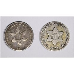 1851 & 1852 3-CENT SILVER, VF