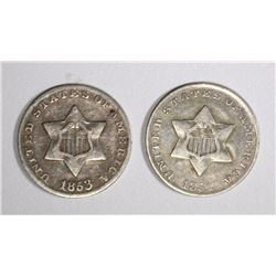 1852 & 1853 3-CENT SILVERS VF
