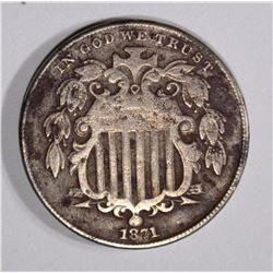 1871 SHIELD NICKEL, VF KEY DATE