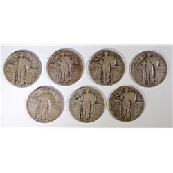 7-FULL DATE STANDING LIBERTY QUARTERS 1925-30