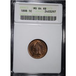 1898 INDIAN HEAD CENT, ANACS MS-64 RB
