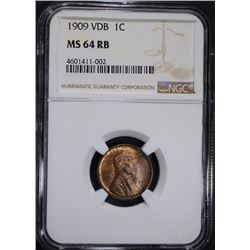 1909 VDB LINCOLN CENT NGC MS64 RB